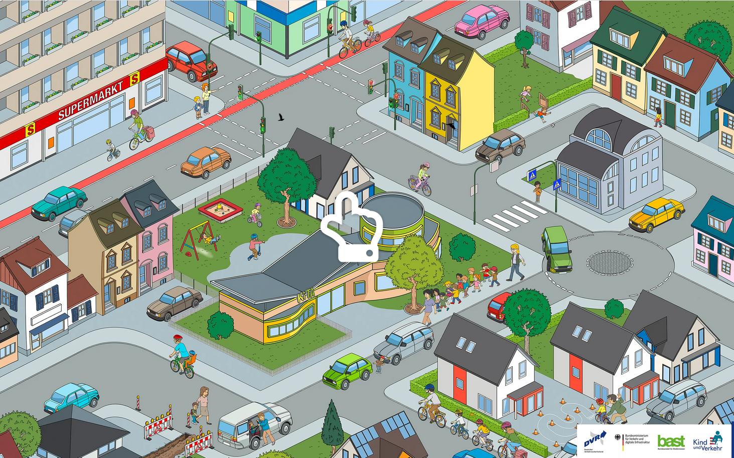 Digitales Wimmelbild hilft bei der Vorbereitung auf den Straßenverkehr
