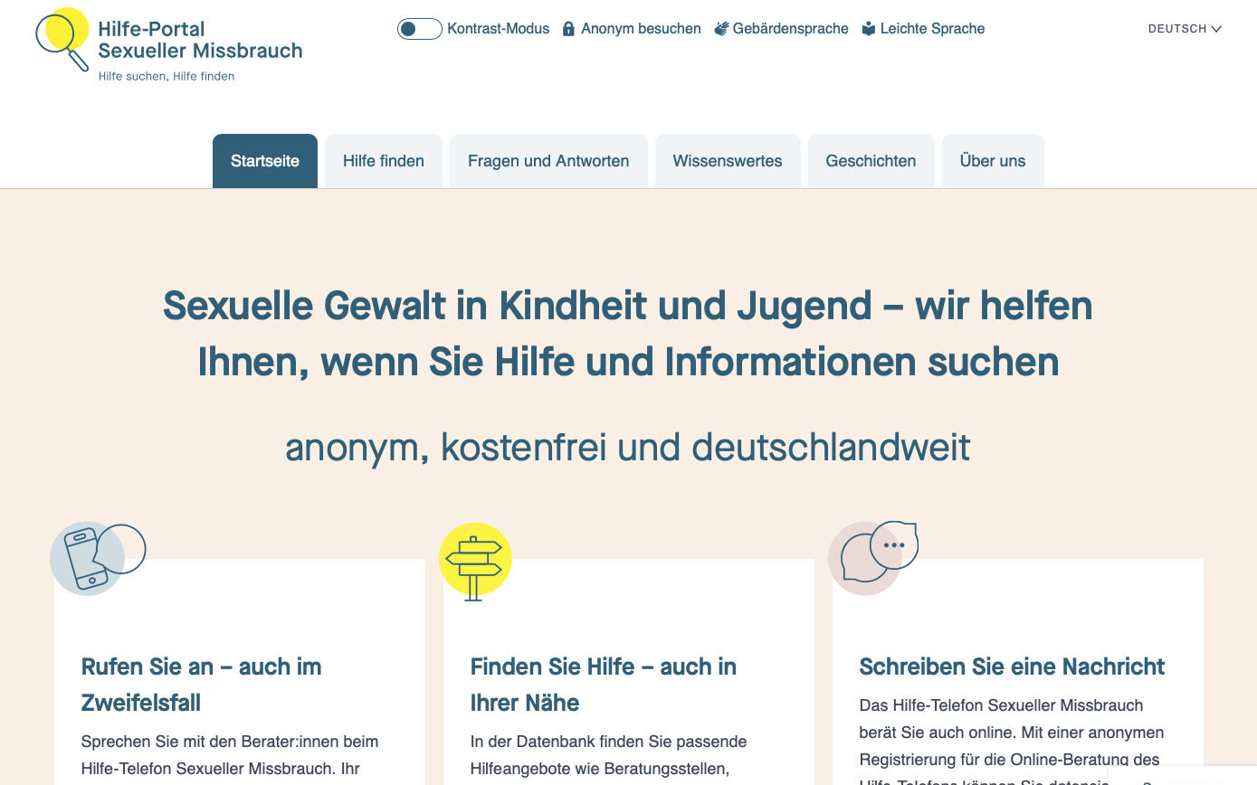 """Read more about the article """"Hilfe-Portal Sexueller Missbrauch"""" relauncht"""